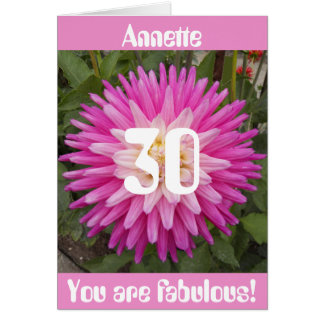 Pink Flower Personalized 30th Birthday Card