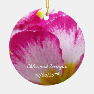 Pink Flower Personalized Wedding Christmas Ornament