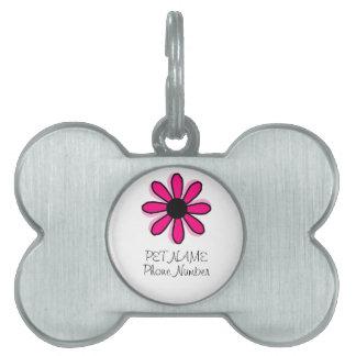 Pink Flower Pet ID Tag