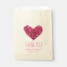 Pink Flower Petal Heart Wedding Favour Favour Bags
