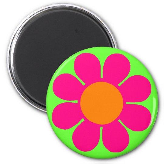 Pink Flower Power 6 Cm Round Magnet