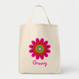 Pink Flower Power Groovy Grocery Tote Grocery Tote Bag