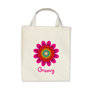 Pink Flower Power Groovy Organic Grocery Tote Tote Bag