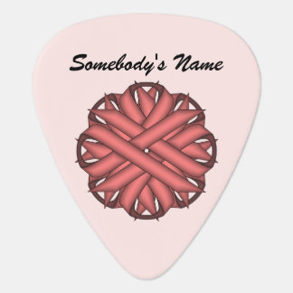 Pink Flower Ribbon by Kenneth Yoncich Guitar Pick