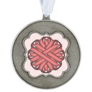 Pink Flower Ribbon Scalloped Ornament