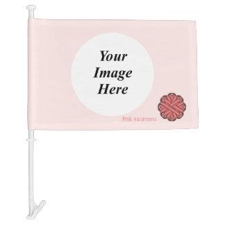 Pink Flower Ribbon Template Car Flag