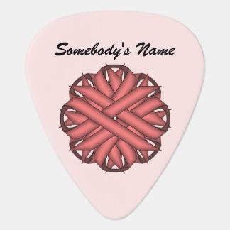 Pink Flower Ribbon Template Guitar Pick
