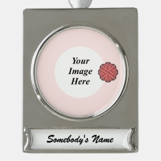 Pink Flower Ribbon Template Silver Plated Banner Ornament