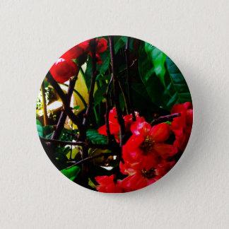 Pink flower round button