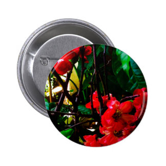 Pink flower round button