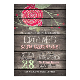 Pink Flower, Rustic Country 85th Birthday Party 13 Cm X 18 Cm Invitation Card