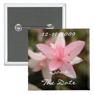 Pink Flower Save The Date 15 Cm Square Badge
