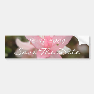 Pink Flower Save The Date Car Bumper Sticker