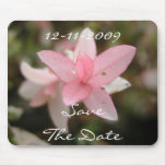 Pink Flower Save The Date Mouse Pad