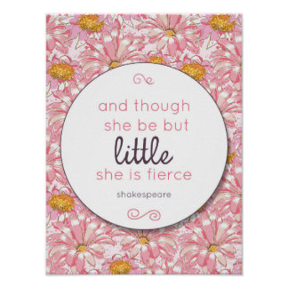 Pink Flower She is Fierce Nursery Poster