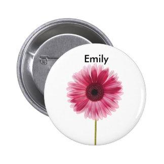 Pink Flower Standard, 2¼ Inch Round Button