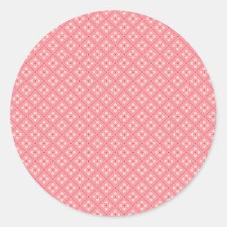 Pink Flower Tiles Round Stickers