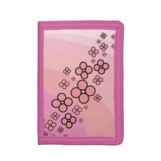 pink flower tri-fold wallets
