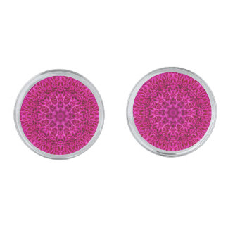 Pink Flower Vintage  Cufflinks, 4 shapes Silver Finish Cuff Links