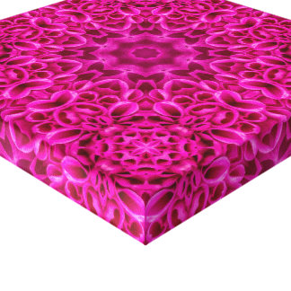 Pink Flower  Vintage Kaleidoscope  Wrapped Canvas