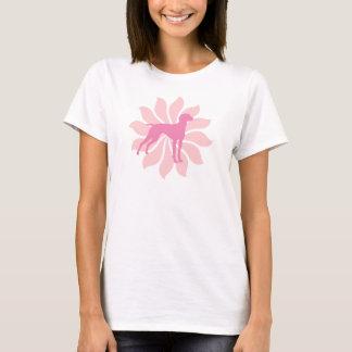 Pink Flower Vizsla Dog T-Shirt