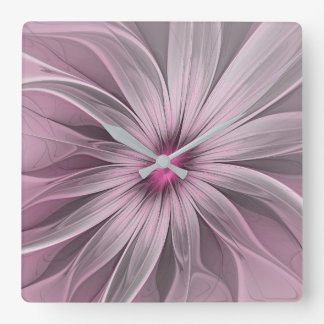 Pink Flower Waiting For A Bee Abstract Fractal Art Clocks