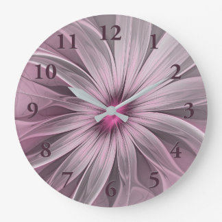 Pink Flower Waiting For A Bee Abstract Fractal Art Large Clock