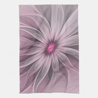 Pink Flower Waiting For A Bee Abstract Fractal Art Tea Towel