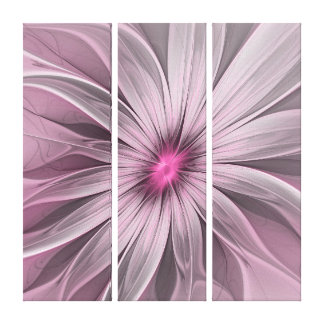 Pink Flower Waiting For A Bee Abstract Triptych Canvas Print