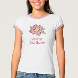 Pink Flower Wedding Coordinator Tee Shirts