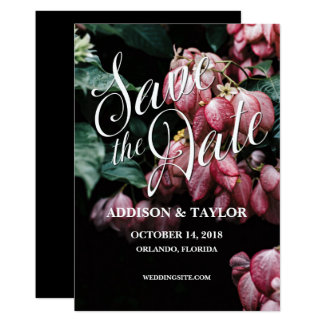 Pink Flower wedding save the date floral card rose