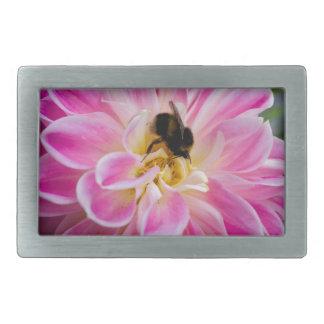 Pink flower with bumblebee belt buckle