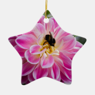 Pink flower with bumblebee ceramic star decoration