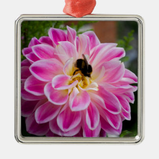 Pink flower with bumblebee christmas ornament