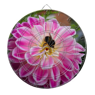 Pink flower with bumblebee dartboard