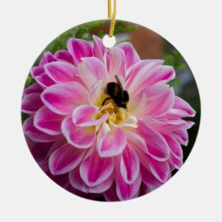 Pink flower with bumblebee round ceramic decoration