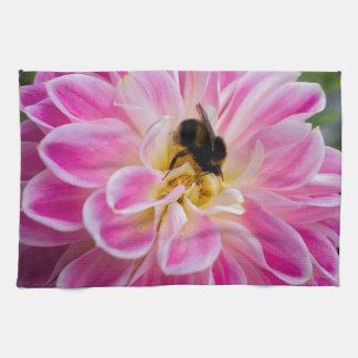Pink flower with bumblebee tea towel