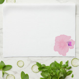 Pink Flower with Butterfly Kitchen Towel