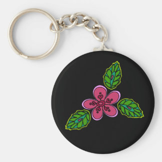 Pink Flower with Green Verdure Basic Round Button Key Ring