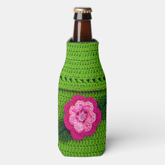 Pink Flower with Pearl Button Light Green Crochet Bottle Cooler
