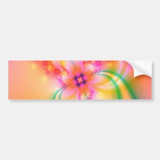 Pink Flower With Ribbons Bumper Sticker