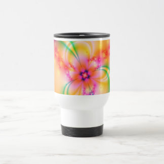 Pink Flower With Ribbons Travel Mug