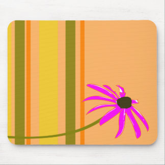 Pink Flower With Stripes Mouse Mat