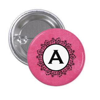 Pink Flower Wreath Monogram Custom Button v56