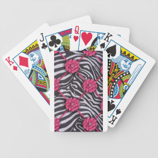 Pink Flower Zebra Print Bicycle Playing Cards