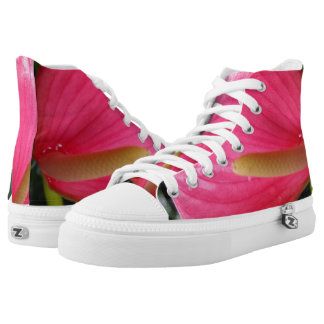 Pink Flower Zipz High Top Shoes,White
