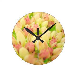 Pink Flowerbed Round Clocks
