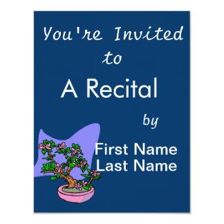Pink Flowering Bonsai Pink Pot Blue Back Personalized Invitation