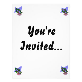 Pink Flowering Bonsai Pink Pot Blue Back Custom Invitation