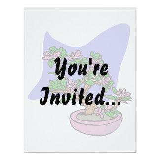 "Pink Flowering Bonsai Pink Pot Blue Back 4.25"" X 5.5"" Invitation Card"